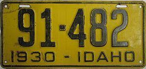 Vehicle registration plates of Idaho - Image: 1930 Idaho license plate