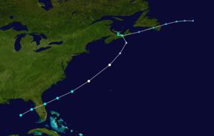 1959 Escuminac disaster - Image: 1959 Escuminac hurricane track