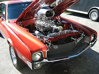 Supercharger - Roots type supercharger on AMC V8 engine for dragstrip racing