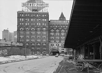 Central Station (Chicago terminal) - The rear of Central Station in February 1971, showing the large Illinois Central sign