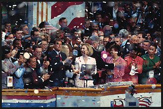 1996 Democratic National Convention - President Bill Clinton, Hillary Clinton, Vice President Al Gore, Senator Paul Simon and others on stage celebrating the renomination of Bill Clinton as the Democratic Party candidate for president