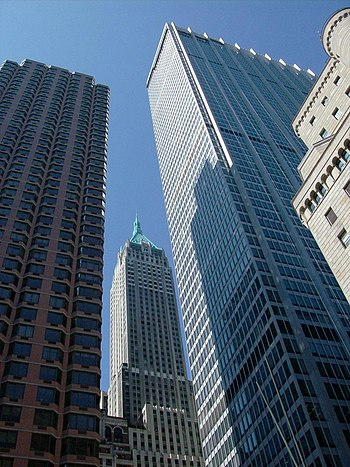 English: 1 Chase Manhattan Plaza (right) and t...