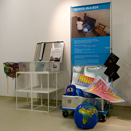 UNICEF School in a box contains basic educational items for one teacher and 40 students 1 school in a box.jpg