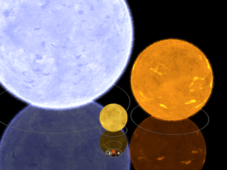 Blue supergiant star - By scale comparison Gamma Orionis (left), Algol B (right), and the Sun (middle)