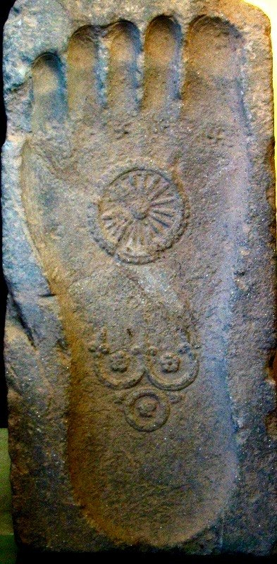 1st century Gandhara Buddha footprint with five swastikas on sole under each toe
