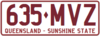 2002 Queensland registration plate 635♦MVZ Sunshine State.png