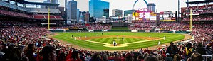 Busch Stadium - 1st game at new Busch featured Cardinal Minor League clubs. Notice the left field seats not yet complete.