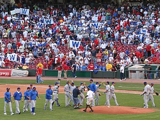 2007 Chicago Cubs season - Cubs and fans celebrate the 2007 National League Central Championship. Cubs Win flags abound.