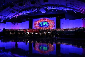 LED stage lighting - The 2008 Concordia College Christmas Concert used LED instruments to light the murals.