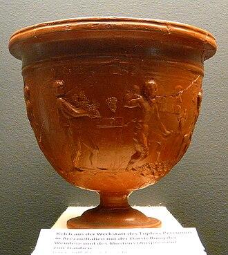 Terra sigillata - A decorated Arretine vase (Form Dragendorff 11) found at Neuss, Germany