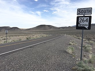 Nevada State Route 264 - View from the north end of SR 264 looking southbound