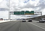 2015-11-04 11 06 10 View south along U.S. Route 95 at Exit 76 (Martin Luther King Boulevard, Interstate 15, U.S. Route 93, Los Angeles, Salt Lake City) in Las Vegas, Nevada.jpg