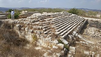 Samaria (ancient city) - Base of Augusteum temple at summit of the hilltop, originally 25 metres high.