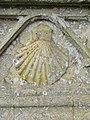 2018-04-23 Scallop shell carving, parish church of Saint James, Southrepps, Cromer.JPG