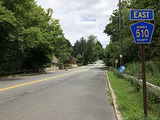 Mendham Township, New Jersey - County Route 510 eastbound in Mendham Township