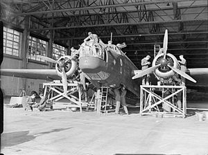 RAF Stradishall - 214 Squadron Wellington being repaired and overhauled at RAF Stradishall