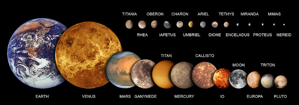 Most of the 205 known natural satellites of the planets are irregular moons. Ganymede, followed by Titan, Callisto, Io and Earth's Moon are the largest natural satellites in the Solar System (see List of natural satellites §List). Venus has no moons, while Neptune has 14.