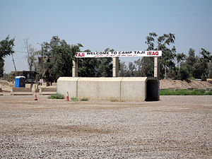 Camp Taji - The welcome sign at the main entrance