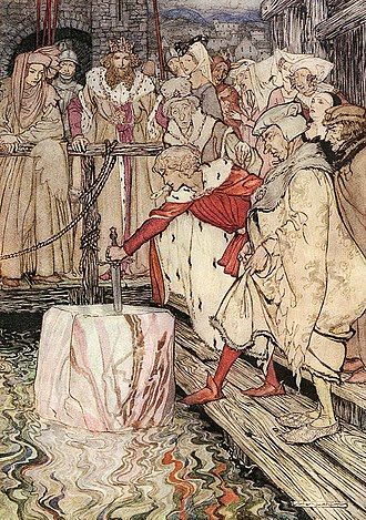 "Excalibur - ""How Galahad drew out the sword from the floating stone at Camelot."" Arthur Rackham's illustration for Alfred W. Pollard's The Romance of King Arthur (1917)"