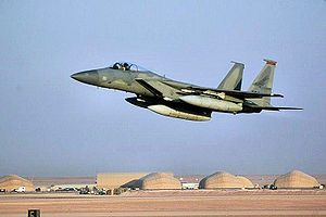 Prince Sultan Air Base - An Air National Guard F-15C Eagle fighter taking off from Prince Sultan Air Base in 2000