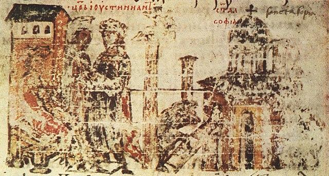 Pembangunan gereja yang digambarkan dalam naskah kuno Kronik Manasye (abad ke-14)