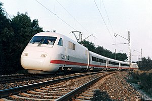 Intercity-Express - InterCityExperimental (ICE V) first run as a full train, near Munich (Sept. 1985)
