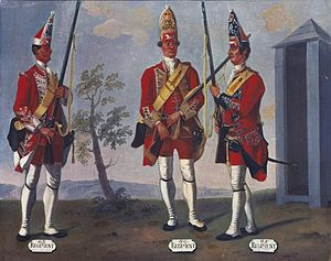 43rd (Monmouthshire) Regiment of Foot - A grenadier of the 43rd Regiment (left), 1751 by David Morier