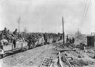 Vernon Sturdee - B Company, 4th Pioneer Battalion shifts camp from the Butte de Warlencourt to Fremicourt by light railway.