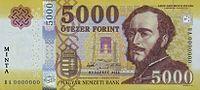 Az 5000 forintos bankjegy Széchenyi István arcképével