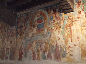 Abbey of Santa Maria in Sylvis - The Paradise fresco in the church's vestibule, including the Coronation of the Virgin