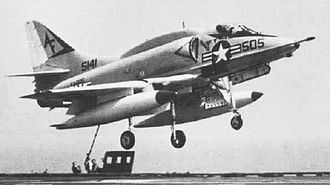 Tactical Support Wing - A-4L of VA-205 landing on the USS Saratoga in the 1970s