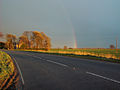 A161 road (Kings Causeway), Swinefleet to Eastoft, Lincolnshire, with rainbow.JPG