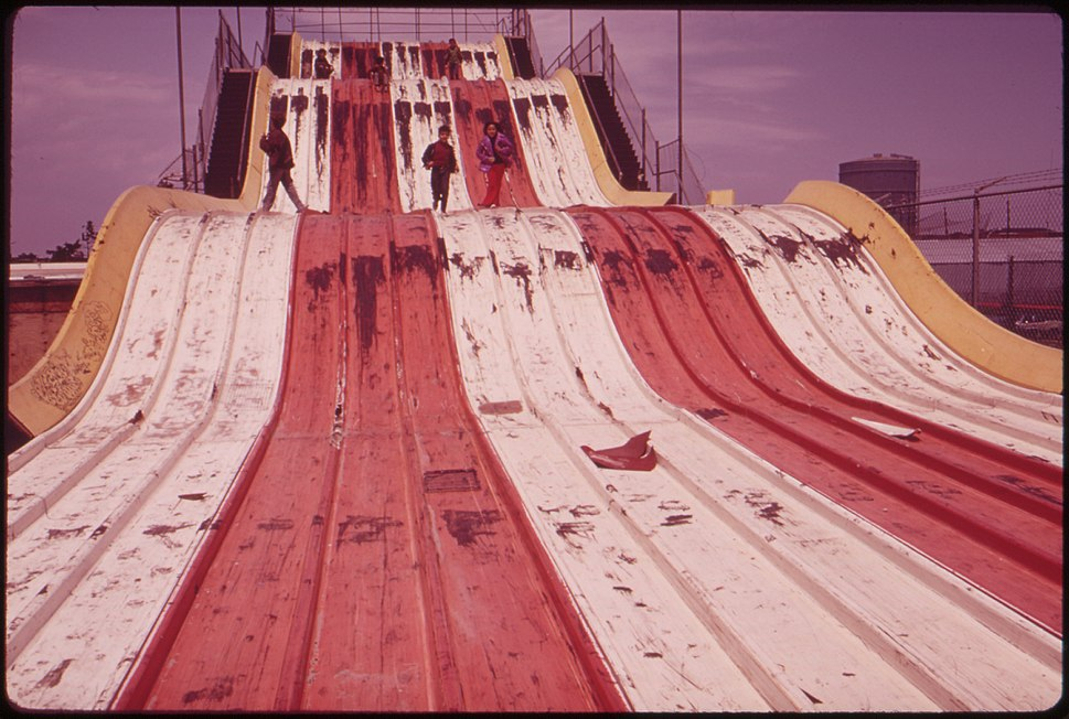 "ABANDONED ""GIANT SLIDE"" AT CONEY ISLAND MARKS DECLINE OF AREA'S RECREATIONAL USE - NARA - 547902"