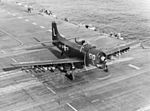 AD-4 of VA-75 taking off from USS Bon Homme Richard (CV-31) off Korea 1952.jpg