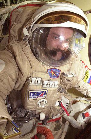 Aleksandr Kaleri - Aleksandr Kaleri wearing an Orlan spacesuit is pictured in the Pirs Docking Compartment.