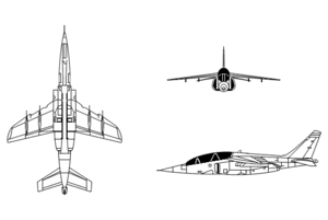 Orthographic projection of the Alpha Jet.