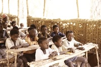 School in Candjambary, Guinea-Bissau, in the open air - Children - 1974