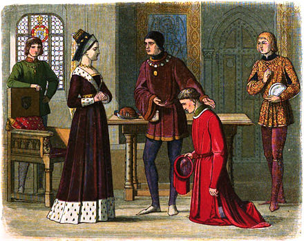 Feeling that Edward IV no longer values him, Richard Neville, 16th Earl of Warwick, betrays the Yorkists by turning to the Lancastrian queen, Margaret of Anjou A Chronicle of England - Page 417 - The Earl of Warwick Submits to Queen Margaret.jpg