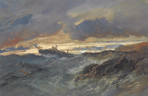 Edward Duncan - A Shipwreck by Edward Duncan, Watercolour and Pencil, 1865