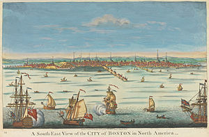 History of Boston - A South-East View of the City of Boston in North America, printed at London, c. 1730