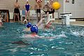 A U.S. Marine with the 1st Reconnaissance Battalion throws a ball during the water polo tournament at Al Asad Air Base, Iraq, March 15, 2009 090315-M-KL291-028.jpg