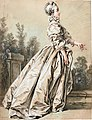 A Young Woman, Seen in Profile, Walking in a Park by François Boucher, chalk.jpg