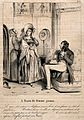 A husband wearily pampers his pregnant wife. Reproduction of Wellcome V0011739.jpg