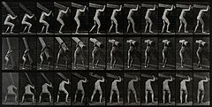 A man carrying a trunk. Photogravure after Eadweard Muybridg Wellcome V0048694.jpg