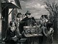 A man is reading out the contents of his box of trinkets as Wellcome V0039558.jpg