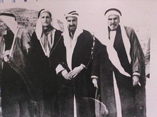 A photo taken in 1933 to Prince Rashed Al Khuzai with his followers and supporters of Jordanian leaders.jpg