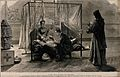 A wounded British soldier being visited in an Egyptian hospi Wellcome V0015787.jpg