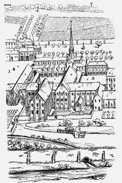Sketch of the old Cîteaux Abbey