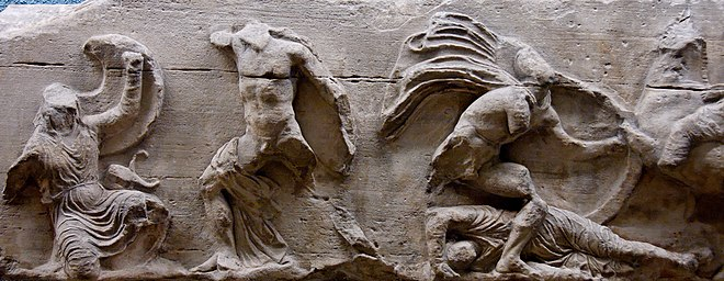 Scene of the Battle of Plataea on the south frieze of the Temple of Athena Nike, Athens. The scene on the right may show the fight over the body of Masistius. British Museum. Acropolis Athens BM 424.jpg