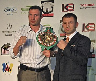 Klitschko and Adamek, during signing for the fight in 2011 Adamek and Klitschko.jpg